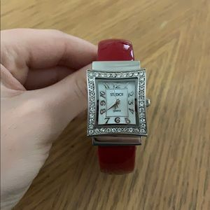 Studio Red Leather Watch With Opal Face